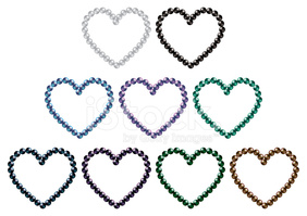 South Sea Black Pearl Hearts IN Vector stock vectors.