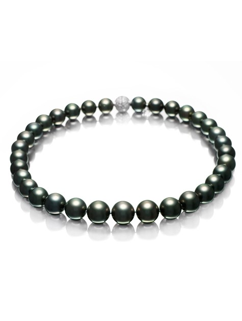 Black South Sea Cultured Pearl Strand Necklace.