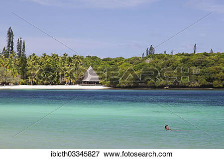 "Picture of ""Beach with a hut on a South Seas island, Ile des Pins."