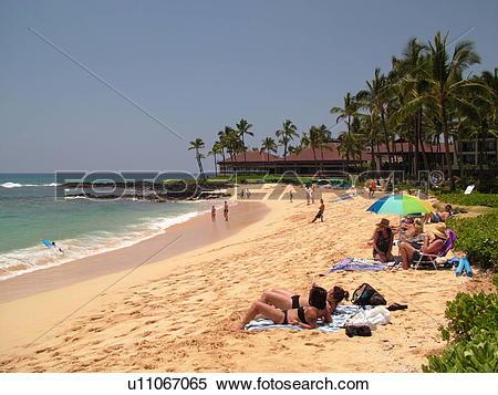 Stock Image of Poipu, Kauai, HI, Hawaii, South Shore, Sheraton.