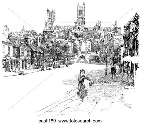 Stock Illustration of The South Side of Lincoln Cathedral, England.