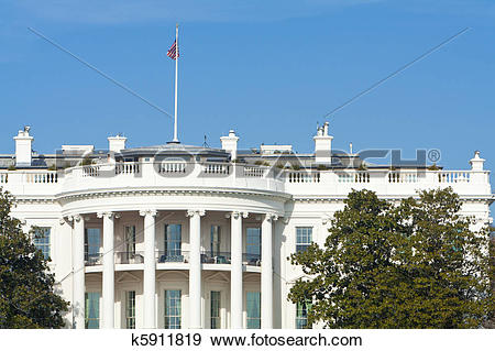 Stock Photograph of South Side of White House, American Flag, Blue.