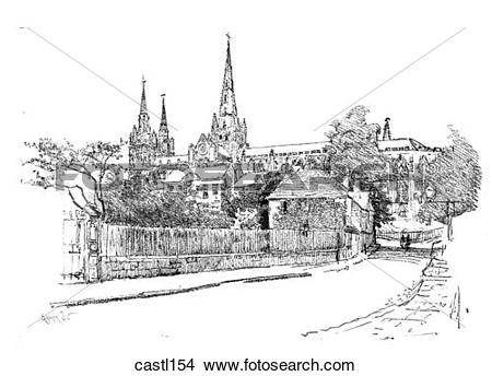 Drawings of The South Side of Lichfield Cathedral, England.