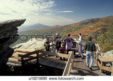 Stock Photography of North Carolina, NC, People on Rough Ridge.