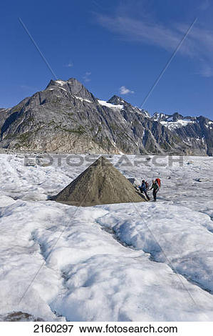 Picture of Trekkers Check Out A Kame (A Mound Of Ice & Dirt Left.