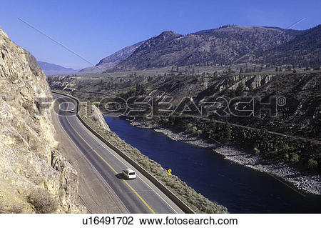 Stock Photo of Highway 97 along the Thompson River, British.