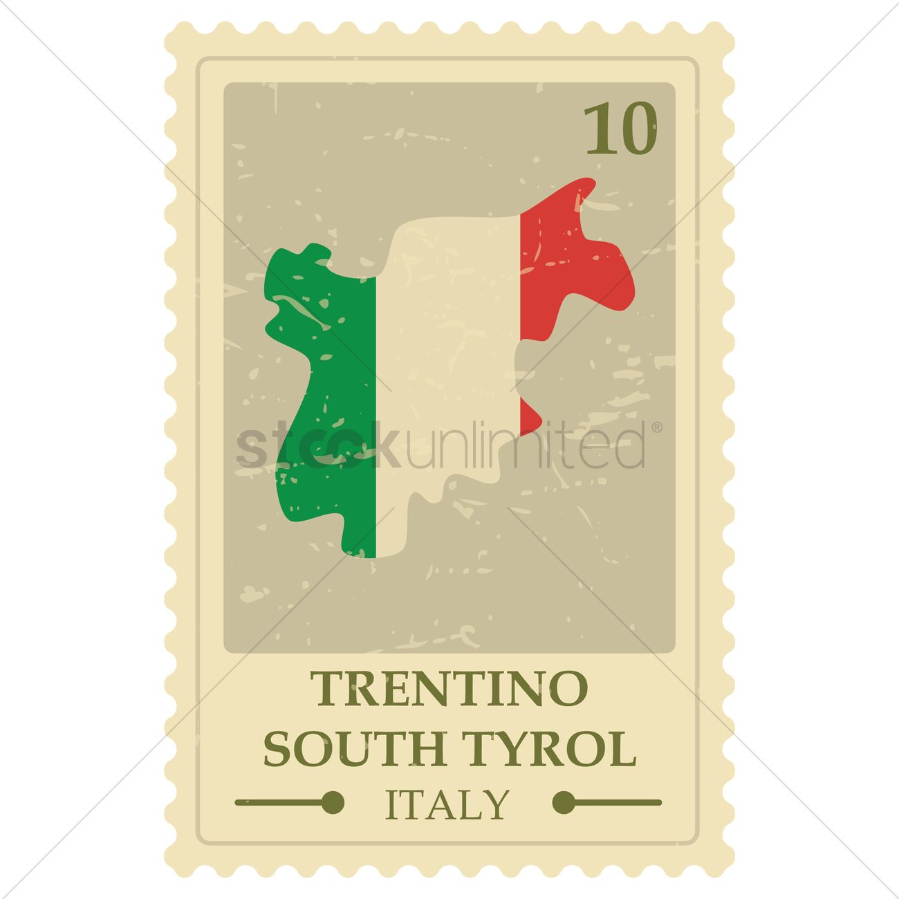 Trentino south tyrol map postage stamp Vector Image.