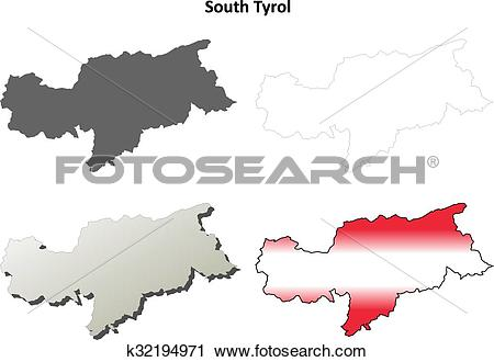 Clipart of South Tyrol blank outline map set.