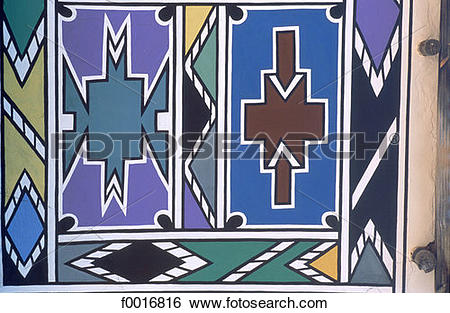 Stock Images of South Africa, Ndebele wall painting f0016816.