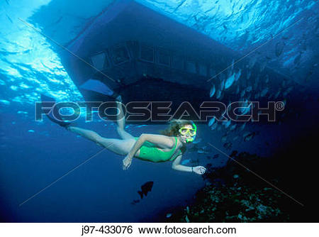 Stock Images of A snorkeler dives past the Atlantis Submarine.