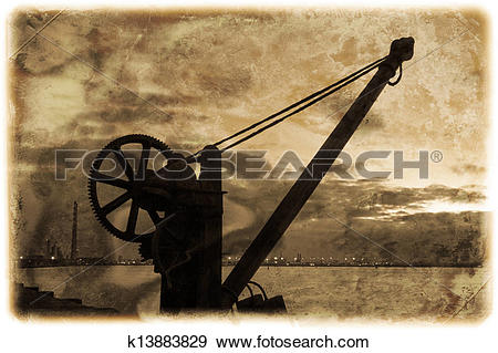 Stock Photograph of Davit in Dublin bay on the South Wall.
