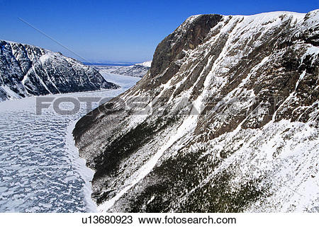 Stock Photo of Aerial of south wall, Bakers Brook Pond, Gros Morne.