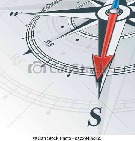 Clipart Vector of compass south.