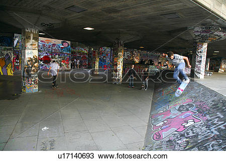Stock Photo of England, London, South Bank. Skateboarding in the.