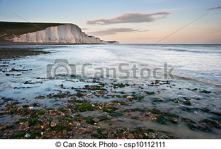 Stock Photography of Sven Sisters Cliffs South Downs England.