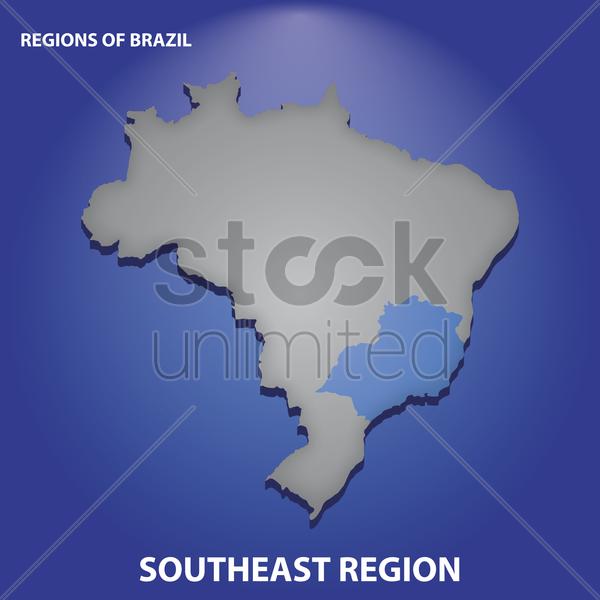 Brazil southeast region Vector Image.