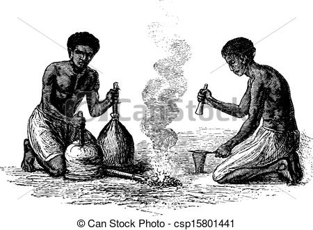 EPS Vector of Blacksmiths of Caquingue in Angola in Southern.