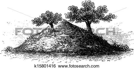 Clip Art of Termite Mound in Southern Africa, vintage engraving.