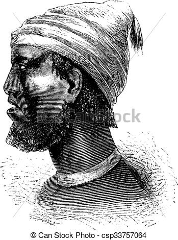 Clip Art Vector of Chief of Chindonga of Angola in Southern Africa.