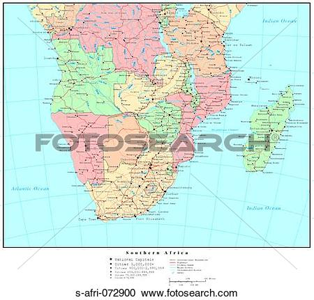 Stock Photography of Map of Southern Africa, with Country.