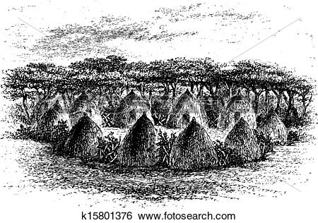 Clip Art of Camp Located Between Chambi and Bie of Angola in.