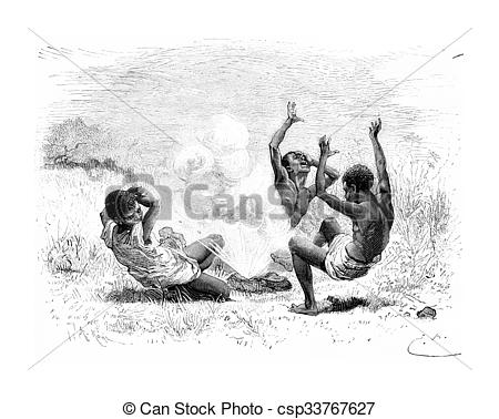 Clip Art of A Bullet Explodes on Three Natives in Angola, Southern.