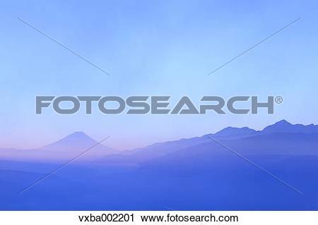 Stock Photography of Mount Fuji Southern Alps and sky, Nagano.