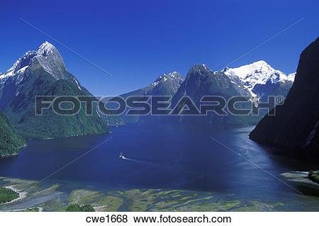 Pictures of Ferryboat crossing Milford Sound through Southern Alps.
