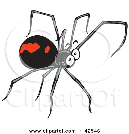 Clipart Illustration of a Grinning Black Widow Spider With Long.
