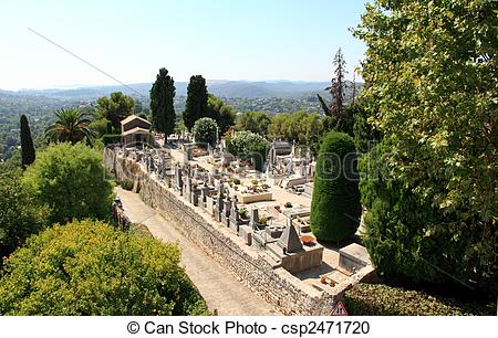 Stock Photography of the cemetery in the village of Saint.
