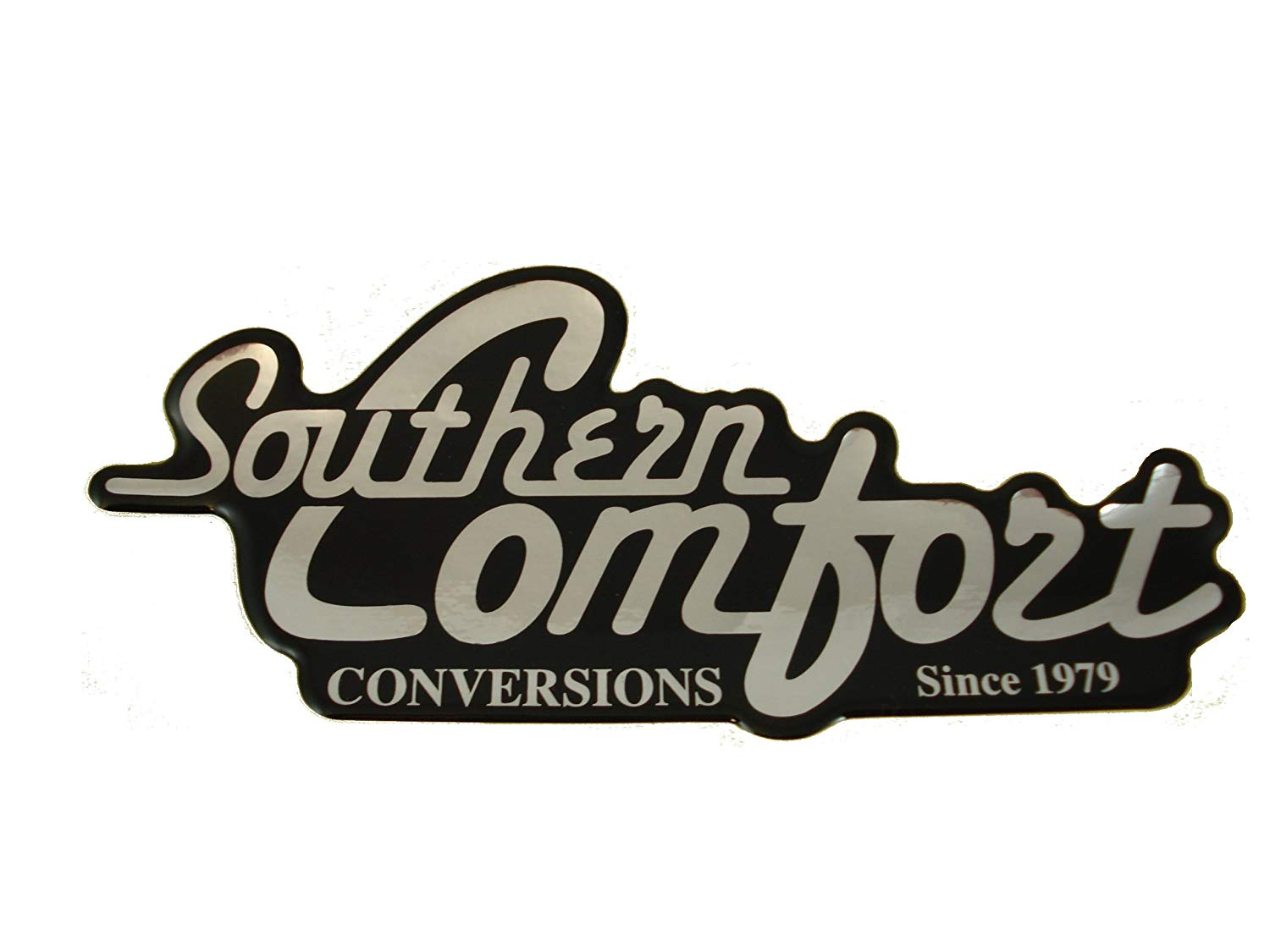 Southern Comfort Conversions Script Decal (Silver/Black.