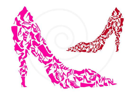 Shoe clipart, shoe silhouettes, digital clip art, high heels.