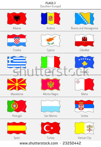Flags Southern Europe States 3 Stock Vector 23250442.