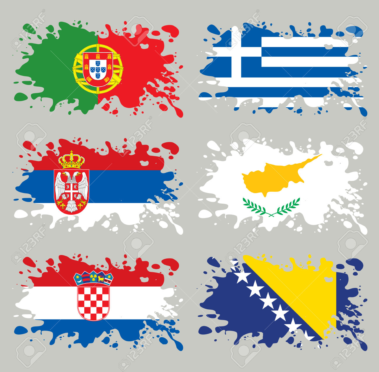Splash Flags Set Balkans & Southern Europe. Each In Separated.