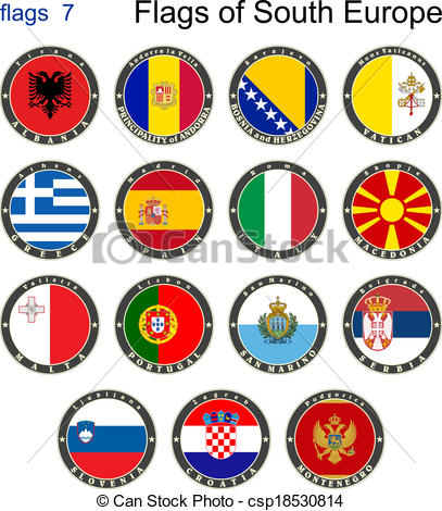Vector Clip Art of Flags of South Europe. Flags 7. Vector.