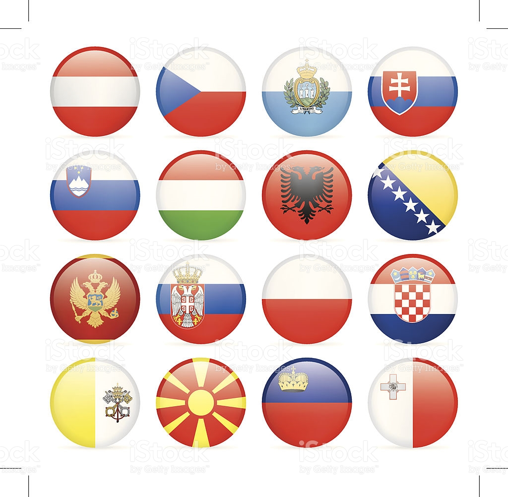 Round Flag Icon Collection Central And Southern Europe stock.