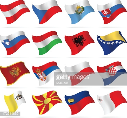 Flying Flags Central And Southern Europe Vector Art.
