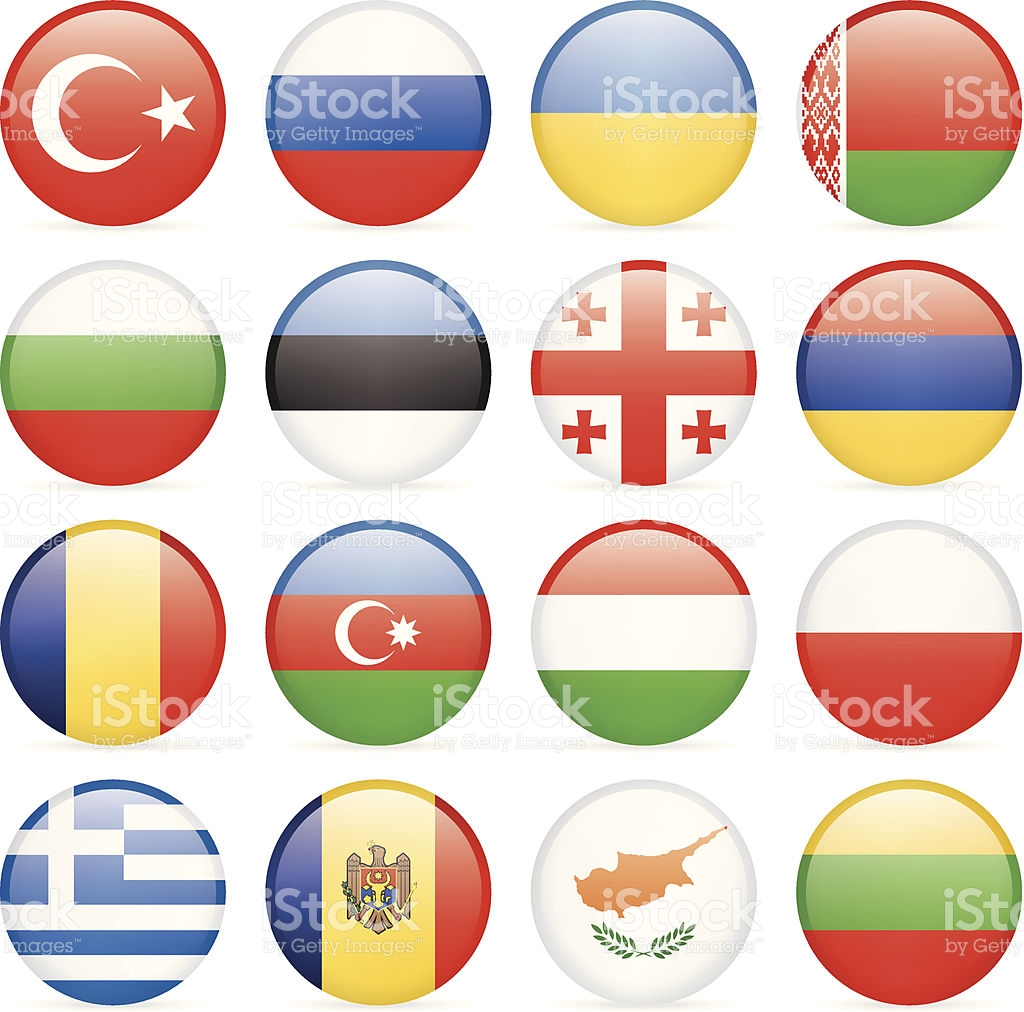 Round Flag Icon Collection East And Southern Europe stock vector.
