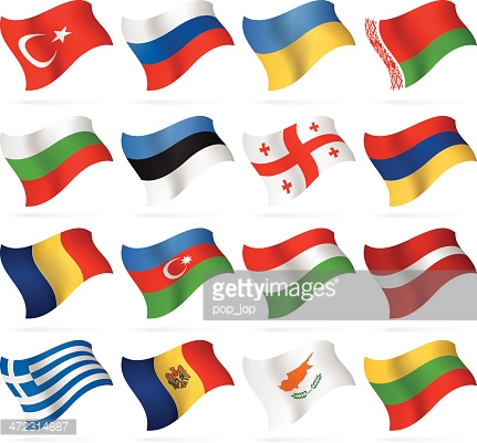 Flying Flags East And Southern Europe Vector Art.
