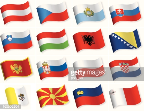 Flags Southern Europe Vector Art.