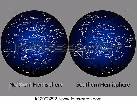 Clipart of constellations of the northern and southern hemisphere.