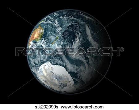 Antarctica Southern Hemisphere Map Clip Art.