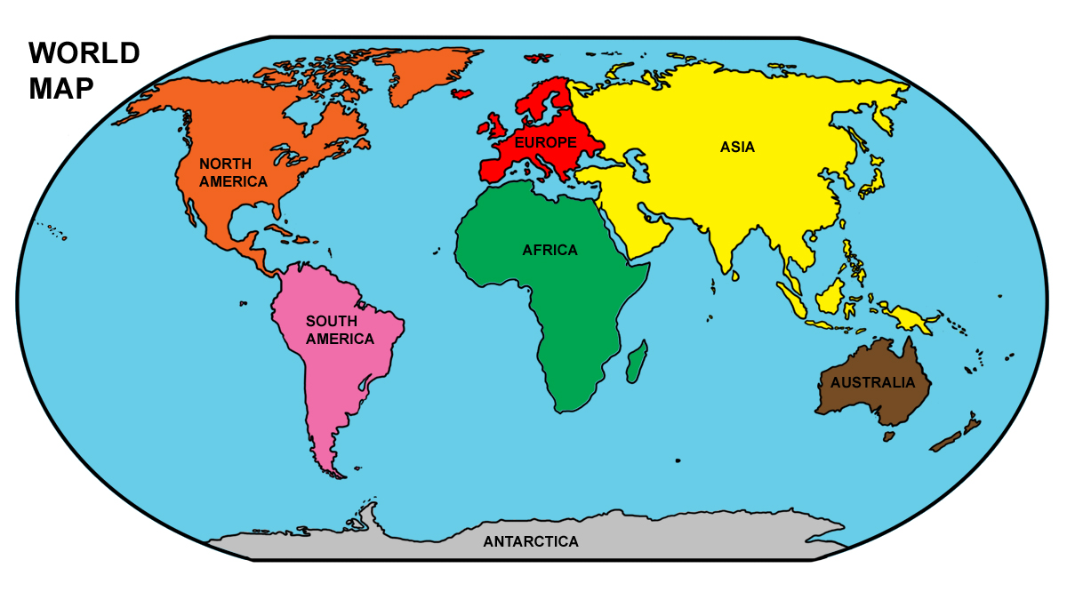 Clip Art: World Map: Northern and Southern Hemispheres Color.