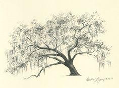 Gordonston Savannah Live Oak Tree Pen and Ink Drawing.