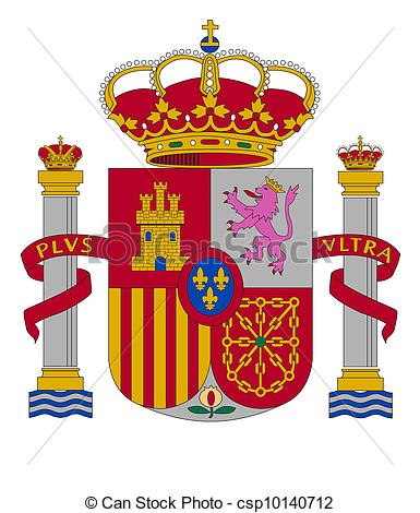 Vector Clip Art of coat of arms of Spain vector illustration.