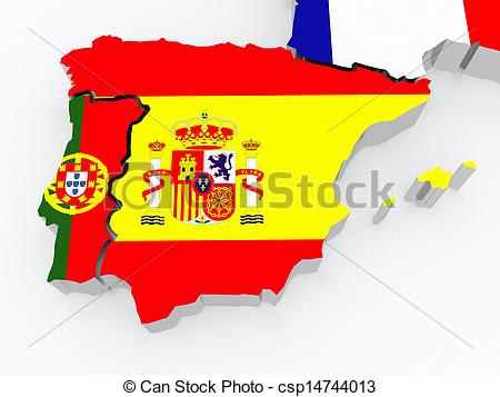 Clipart of Map of Spain and Portugal. 3d csp14744013.