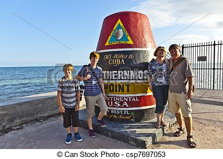 Stock Photos of Southernmost Point marker, Key West, USA.