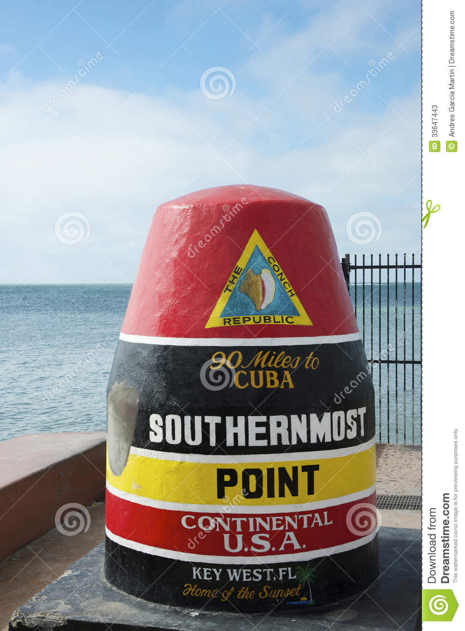 USA Southernmost Point Monument And Key West Tourist Attraction.