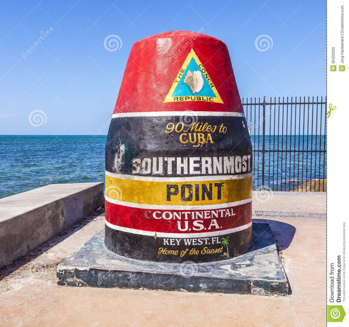 Southernmost Point Marker, Key West, USA Stock Photography.