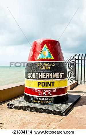 Stock Photo of Southernmost Point marker, Key West, USA k21804114.